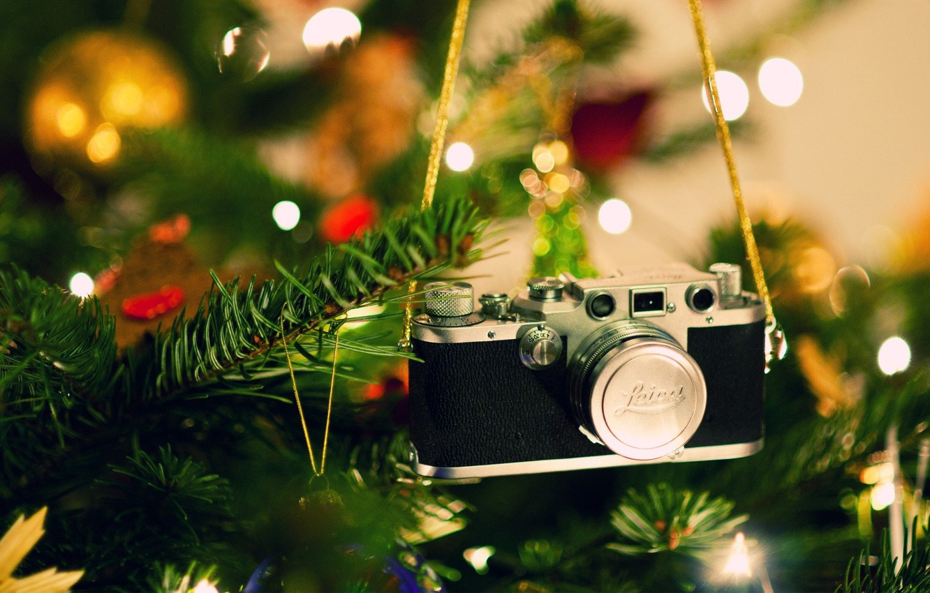 Photo wallpaper decoration, glare, mood, toys, tree, camera, New Year, Christmas, the camera, Christmas, design, camera, Merry ...
