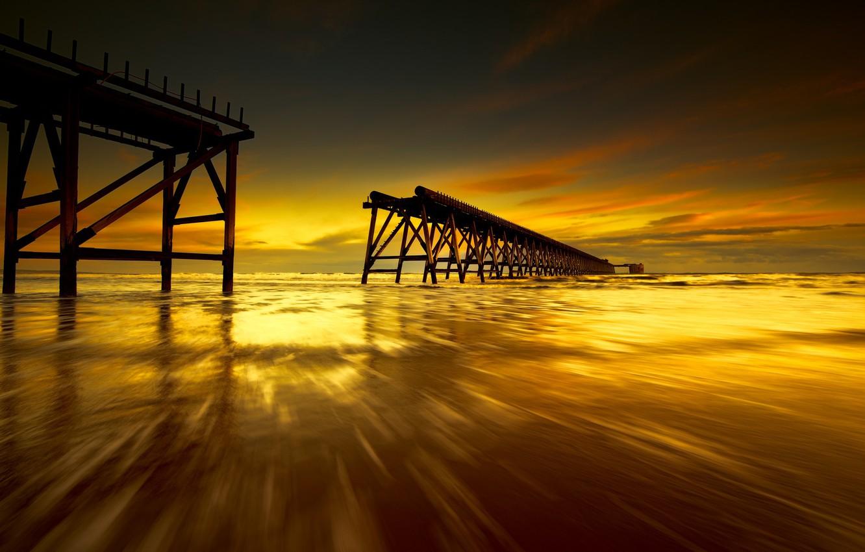 Photo wallpaper sea, sunset, bridge