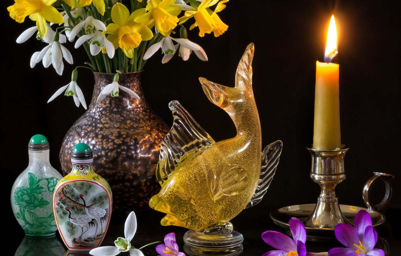 Photo wallpaper flowers, style, reflection, candle, fish, bouquet, snowdrops, crocuses, black background, daffodils, bottle