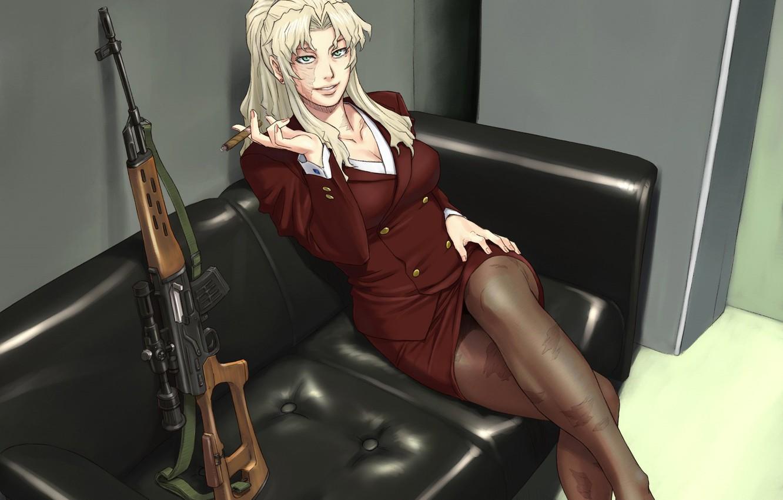 Photo wallpaper Black Lagoon, girl, woman, anime, sniper, asian, manga, japanese, scar, dragunov, Balalaika-Azasuke