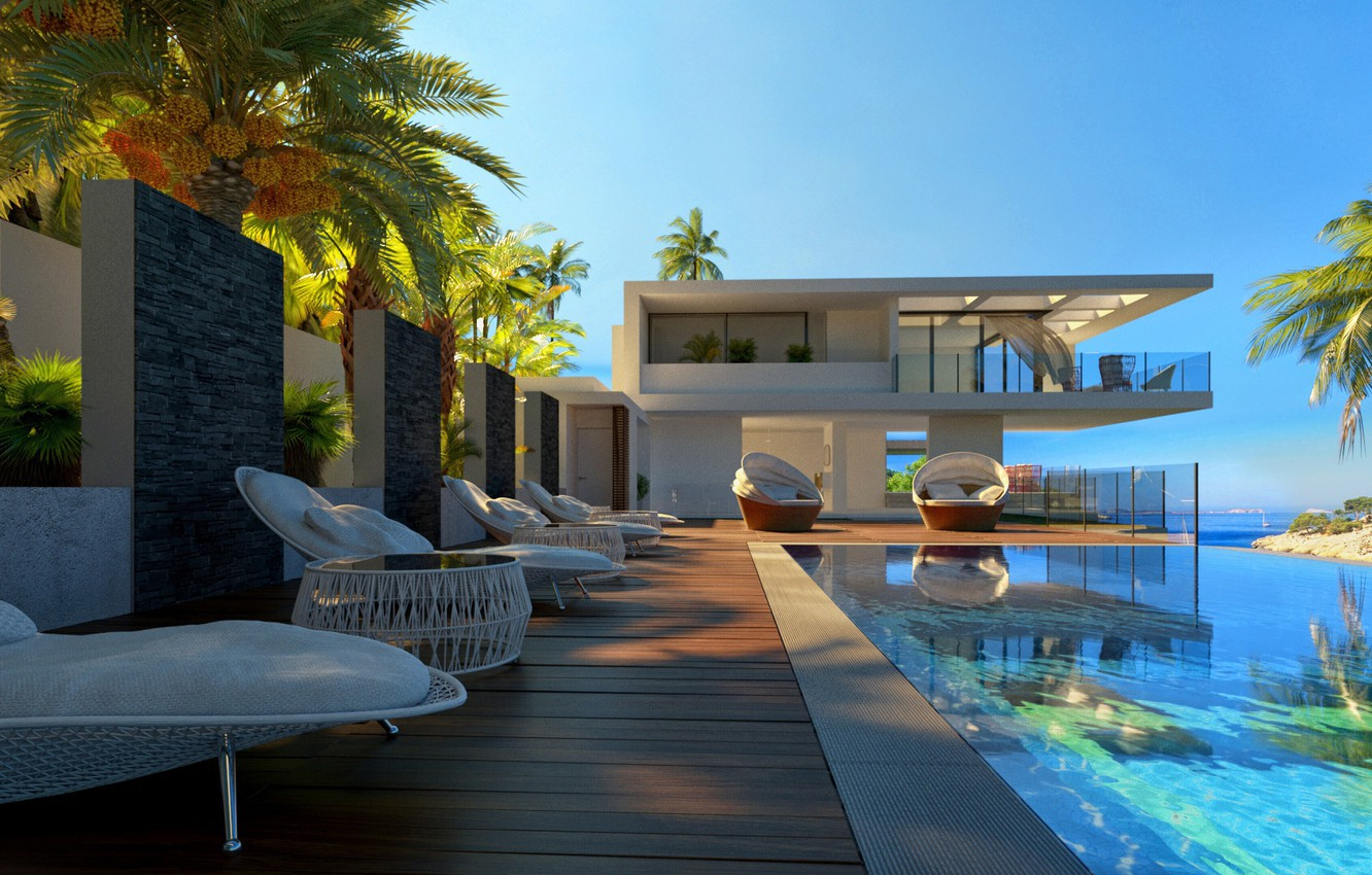 Photo wallpaper palm trees, pool, structure, sunbeds, Hedonism