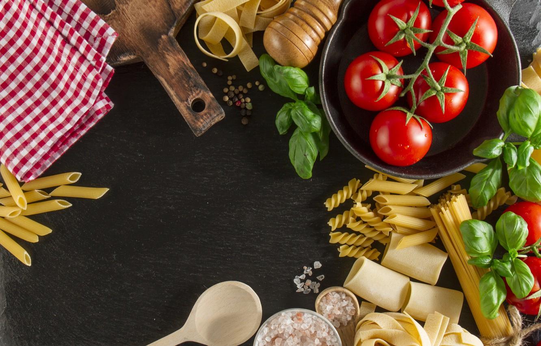 Photo wallpaper food, tomatoes, food, Italian, pasta, Basil
