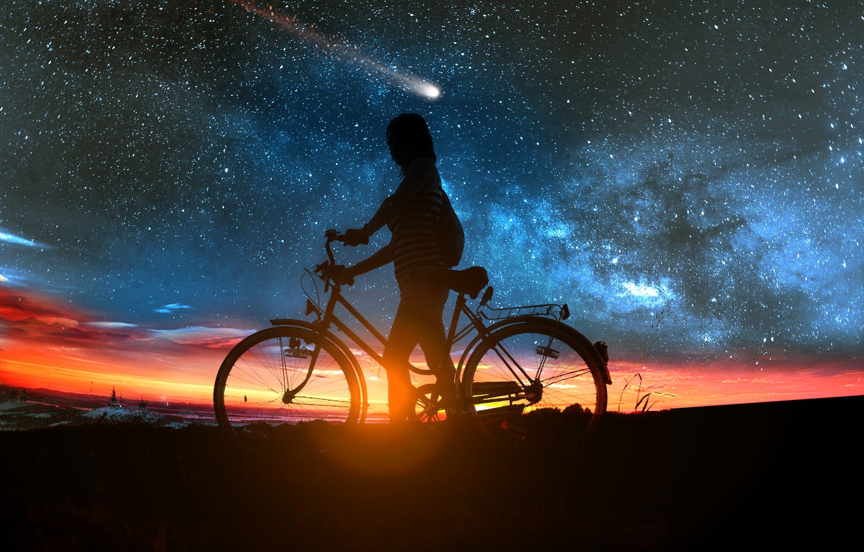 Photo wallpaper girl, sunset, bike, comet
