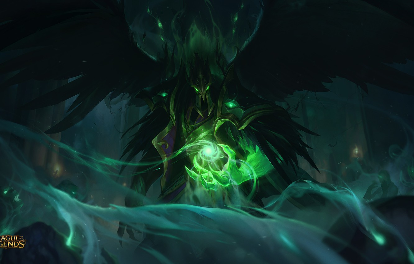 Photo wallpaper Energy, Magic, Wings, Art, Splash, League of Legends, LoL, Artwork, League Of Legends, Tyrant, Swain, …