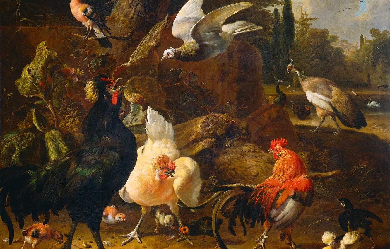 Photo wallpaper animals, picture, Melchior de Hondekuter, The Poultry Yard