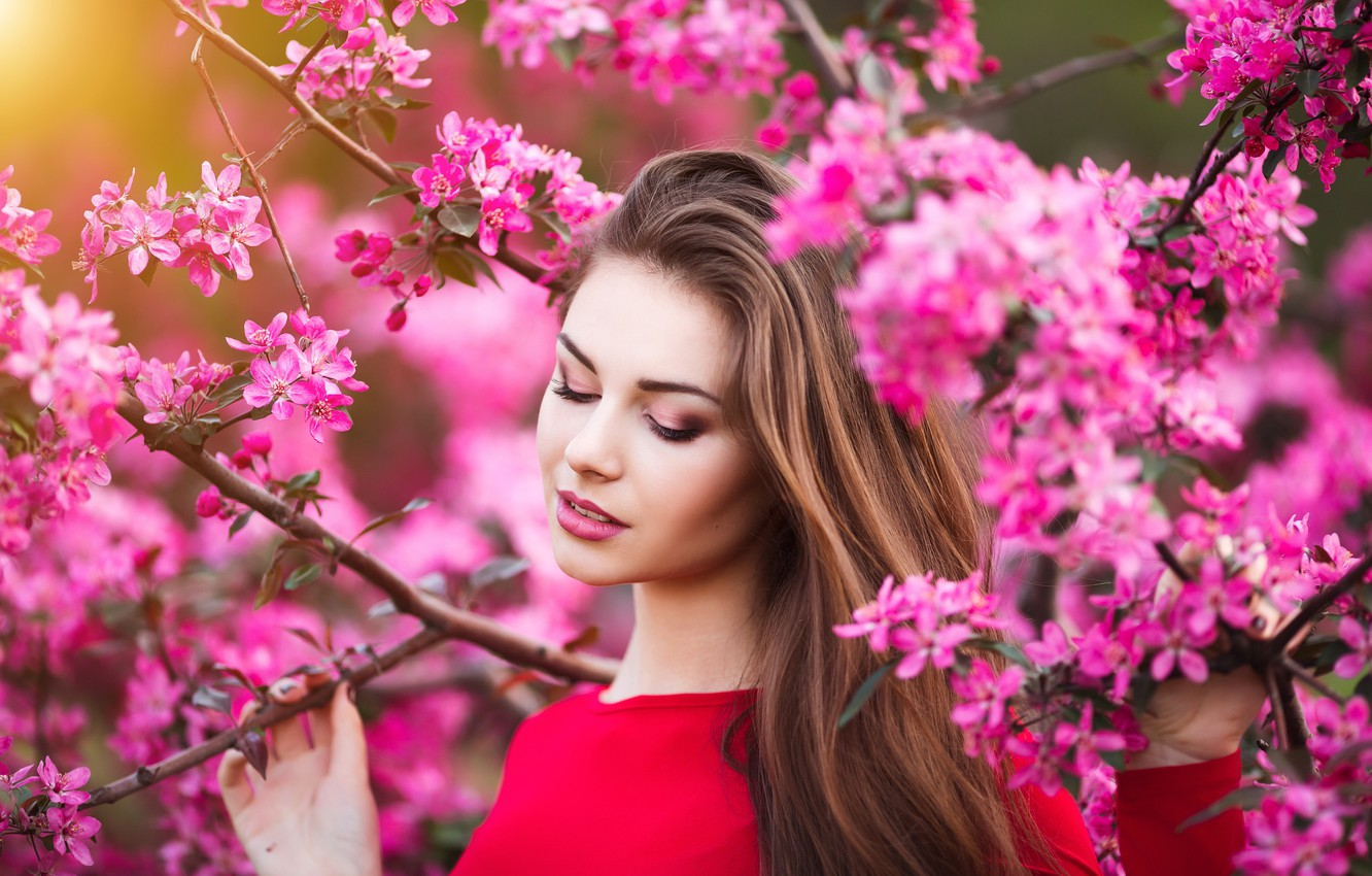 Wallpaper Girl Flowers Beauty Spring Garden Woman Young Beautiful Spring Happy Touch Images For Desktop Section Devushki Download