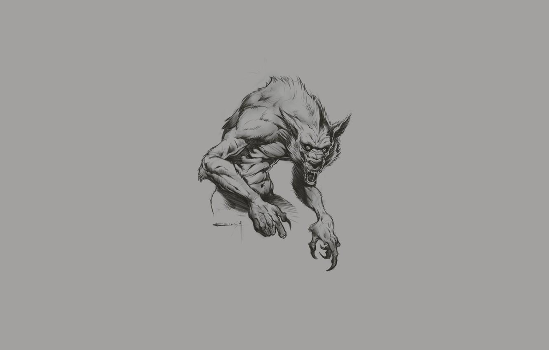 Photo wallpaper wolf, fangs, werewolf