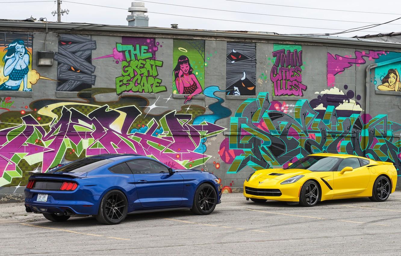 Photo wallpaper design, background, Ford Mustang, Corvette Chevrolet