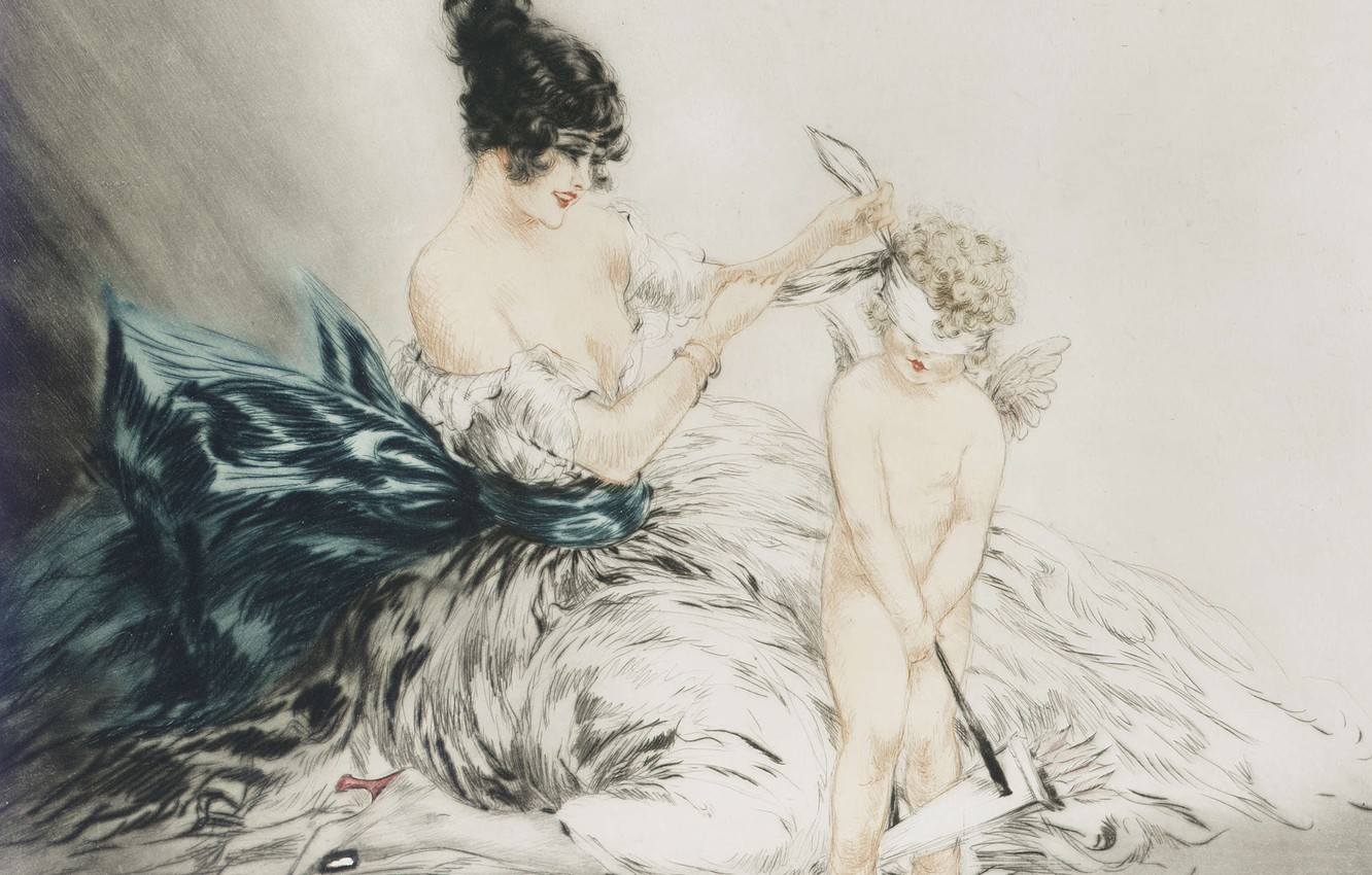 Photo wallpaper angel, 1922, Louis Icart, art Deco, etching and aquatint, Blindfolded