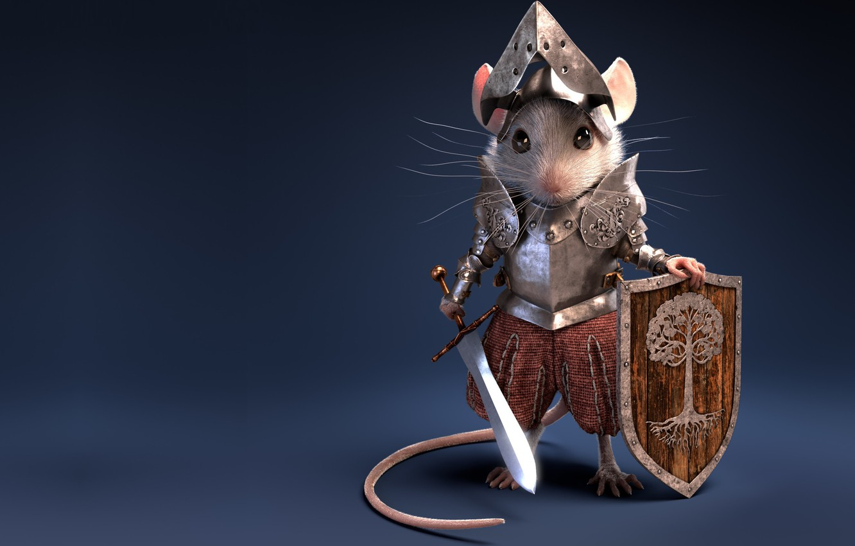 Photo wallpaper sword, mouse, art, shield, knight, armor, children's, Knight Mouse, Antonio Ferrer