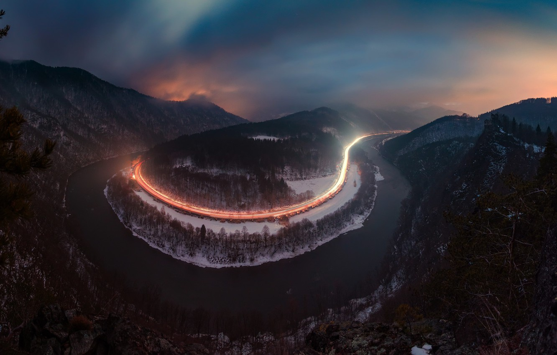 Photo wallpaper winter, road, light, night, river, the evening, excerpt