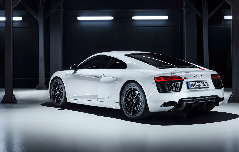 Photo wallpaper garage, supercar, Audi R8, rear view, 2018, V10, RWS