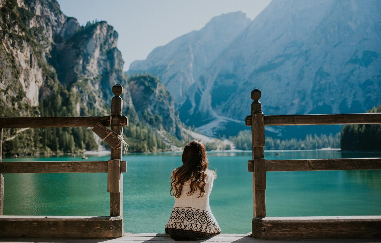 Photo wallpaper the sky, water, girl, mountains, brunette, pierce, sitting