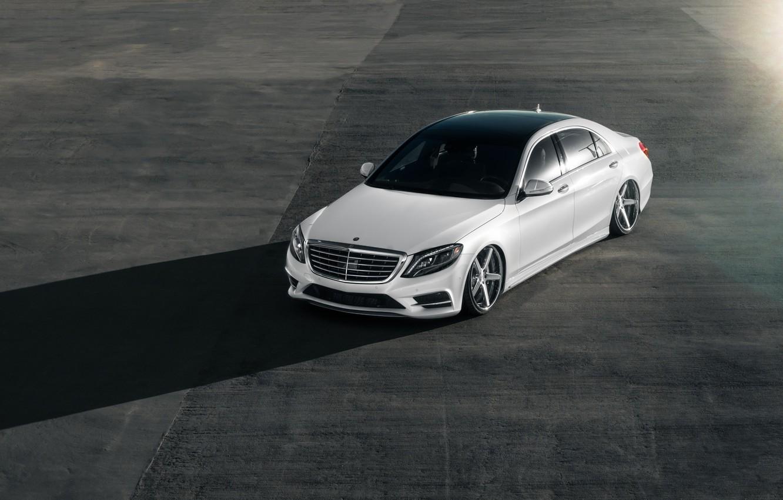 Photo wallpaper Mercedes, White, Shadow, W222, S500