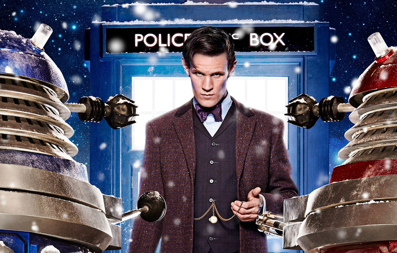 Photo wallpaper look, stars, snow, actor, male, booth, Doctor Who, Doctor Who, The TARDIS, TARDIS, Matt Smith, …