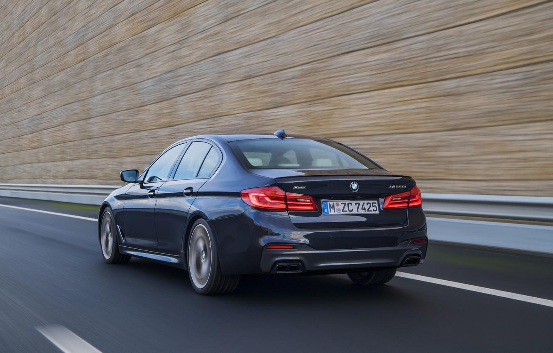 Photo wallpaper road, movement, black, speed, blur, BMW, the fence, back, sedan, side view, 5, 2017, 5-series, …