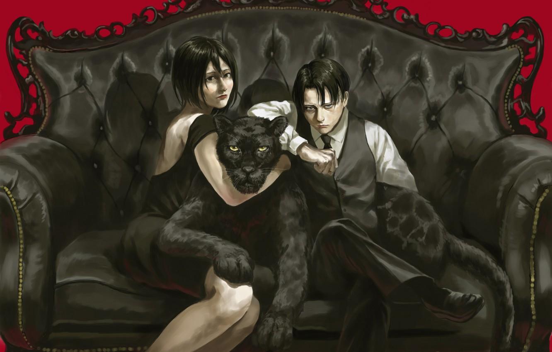 Photo wallpaper anime, Panther, art, Attack on Titan, Mikasa, Attack of the titans, Levi, Shingeki no Kyoj