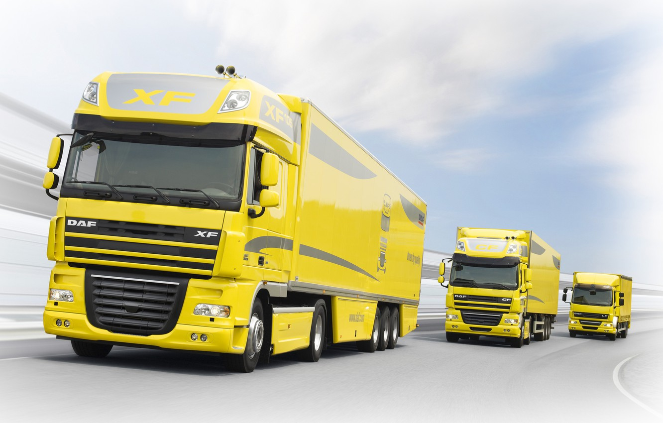 Photo wallpaper the sky, clouds, trucks, movement, track, yellow, DAF, DAF, XF, LF, CF