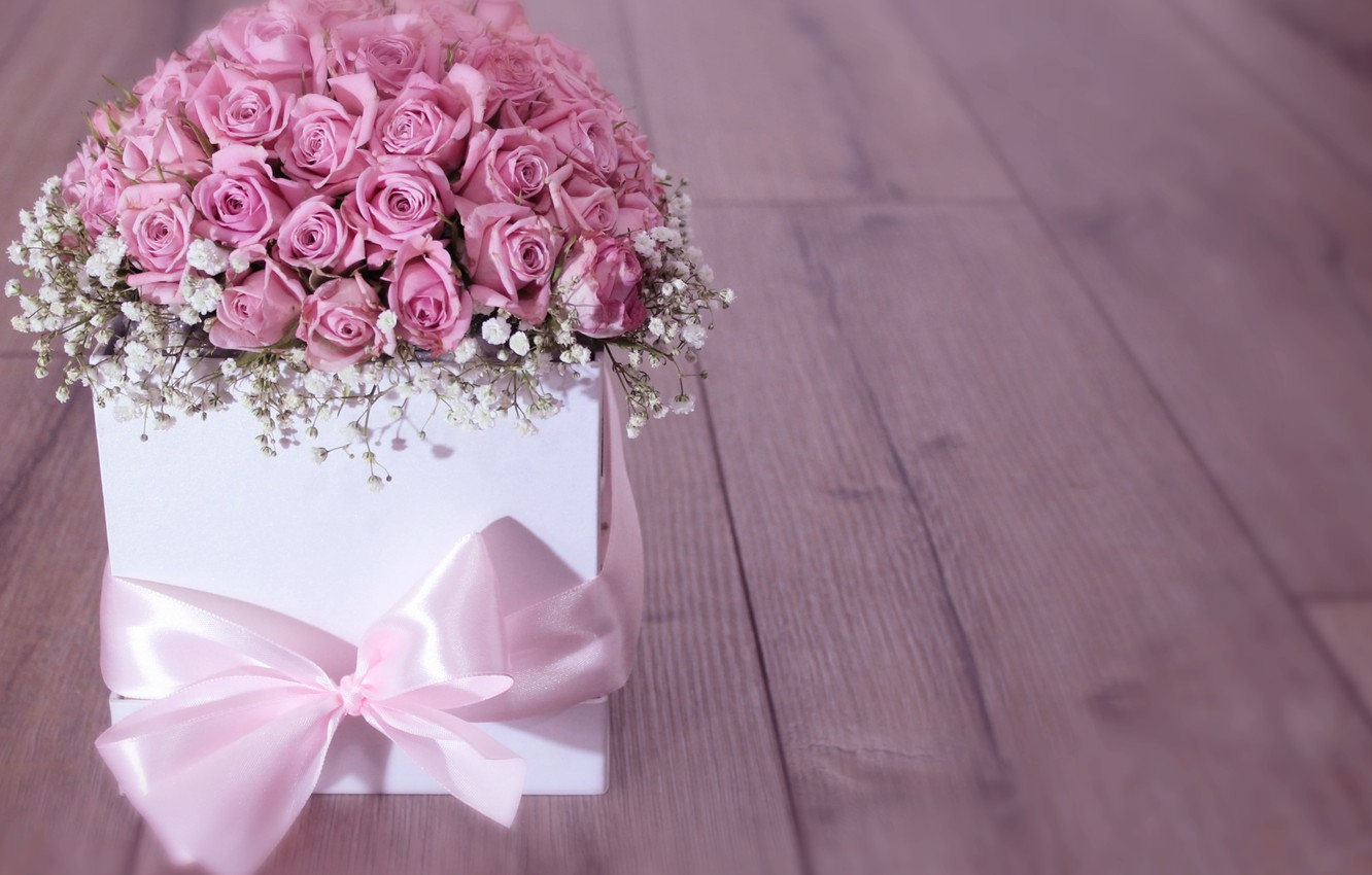 Photo wallpaper box, gift, roses, bouquet, tape, flower, wood, pink, roses