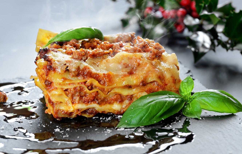 Photo wallpaper food, filling, italiano, Basil, lasagna, pasto