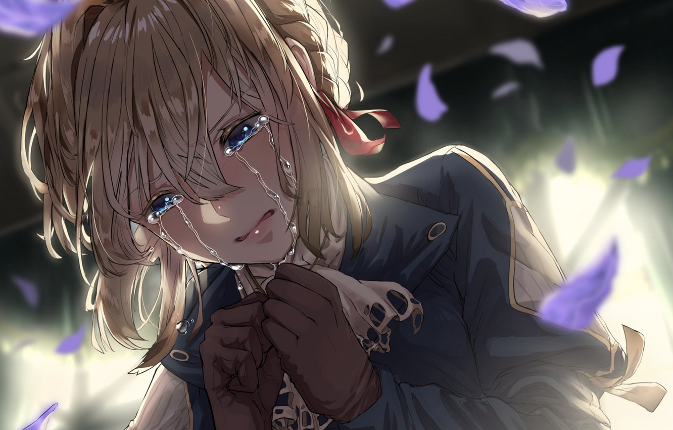 Photo wallpaper girl, petals, tears, Violet Evergarden