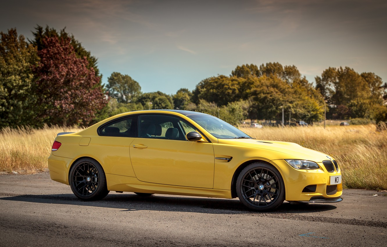 Photo wallpaper the sky, clouds, trees, yellow, coupe, BMW, BMW, e92, dakar edition