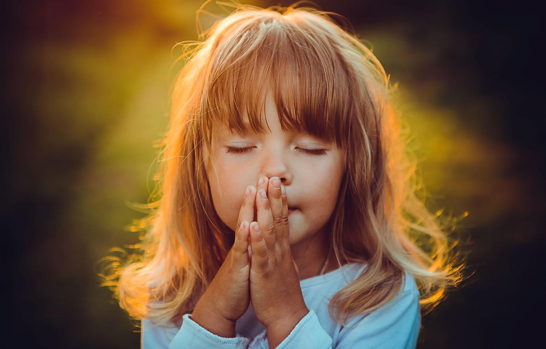 Photo wallpaper hair, girl, prayer