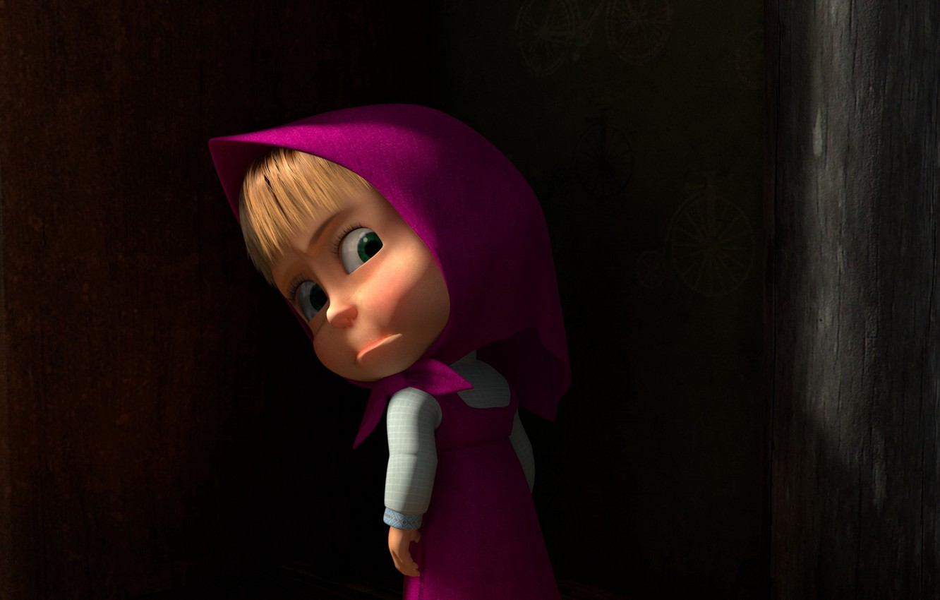 Wallpaper Look Resentment Girl Shawl Sundress Masha In The Dark Masha And The Bear Half A Turn Images For Desktop Section Filmy Download