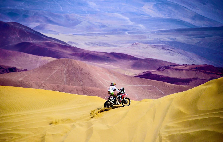 Photo wallpaper Sand, Mountains, People, Sport, Speed, Race, Hills, Motorcycle, Honda, Moto, Honda, One, Rally, Dakar, Rally, …