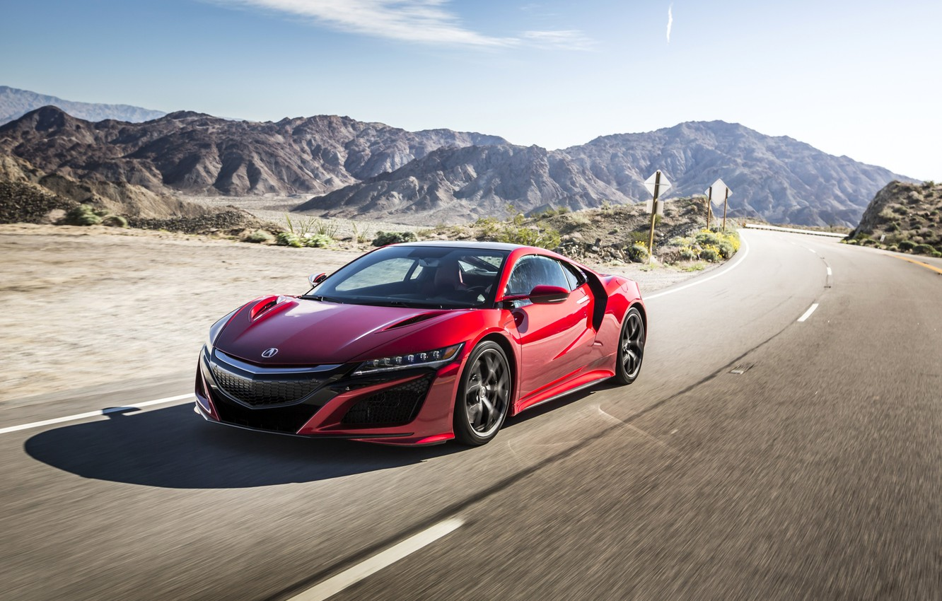 Photo wallpaper Red, Movement, Car, Acura, NSX, 2017, Metallic