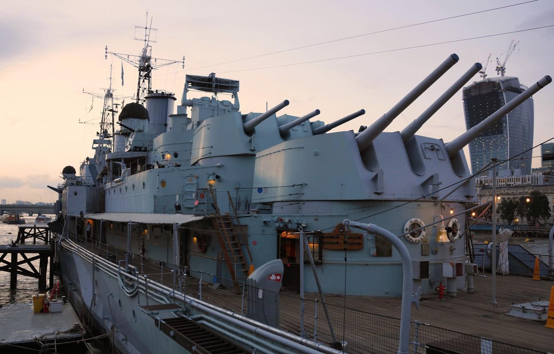 Photo wallpaper ship, London, Museum, cruiser, main, caliber, Belfast