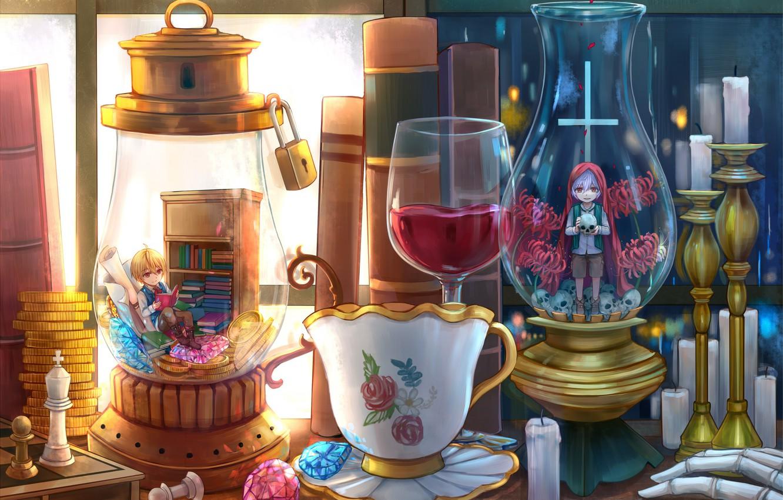 Photo wallpaper table, anime, bulb