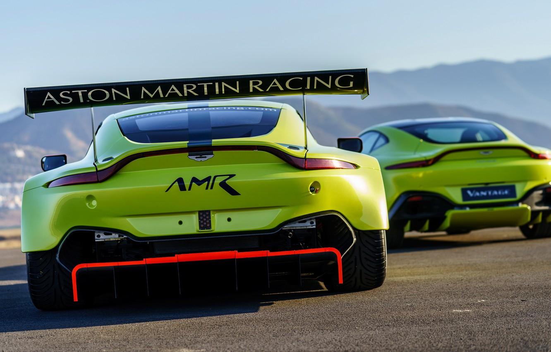 Photo wallpaper Aston Martin, Vantage, pair, racing car, spoiler, 2018, GTE