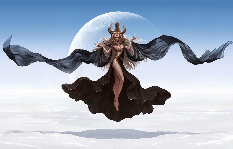 Photo wallpaper the moon, fantasy, art, Mintbrush B., Goddess of desert