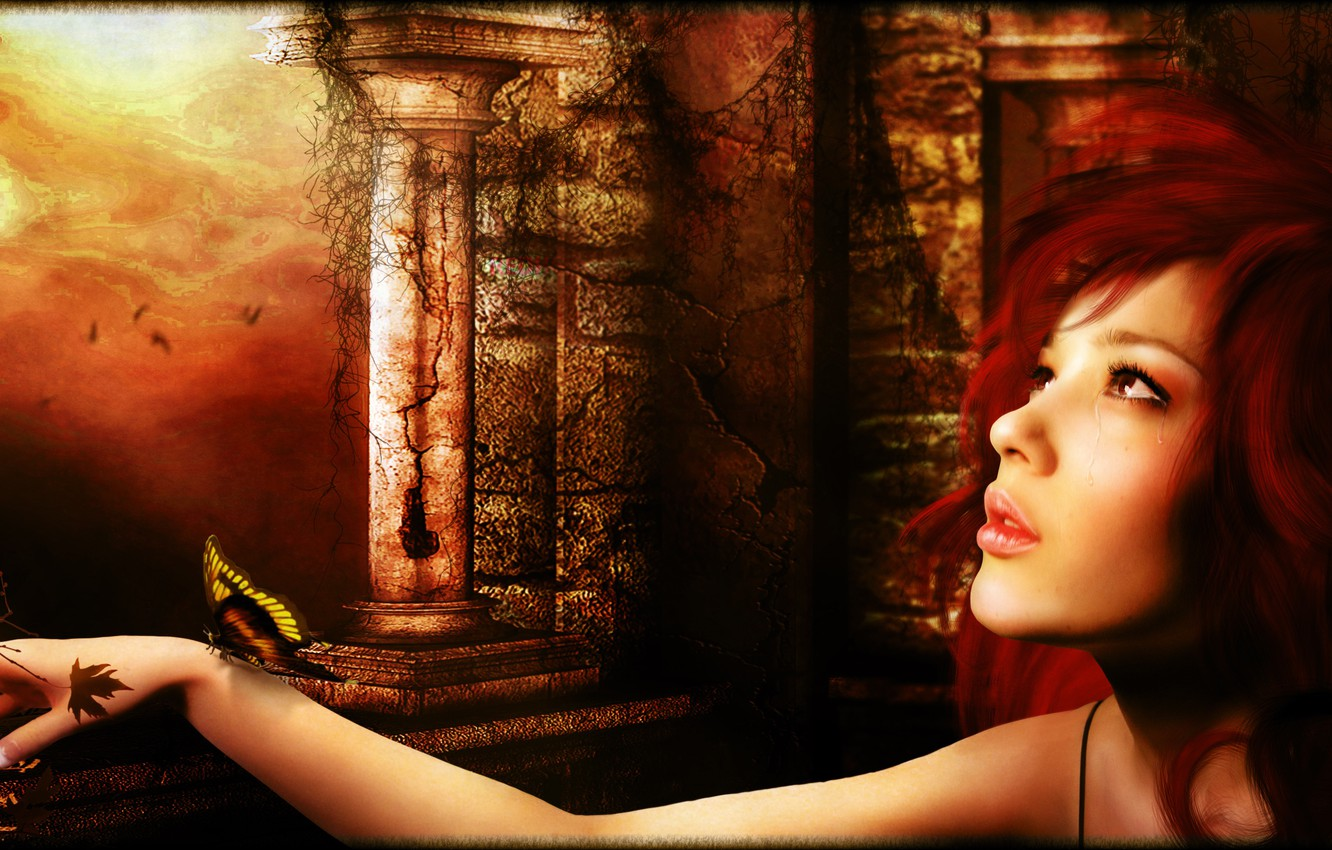 Photo wallpaper butterfly, tears, Digital Art, redhead girl, all_i_can_think_about_is_you_by_brandrificus, brandrificus