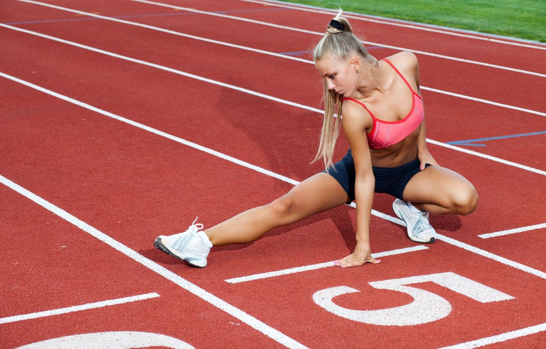 Photo wallpaper girl, track, stretching, Blondie, warm-up