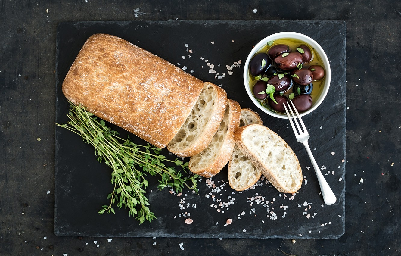 Photo wallpaper food, bread, olives, bread, Italian, oil, olive, ciabatta