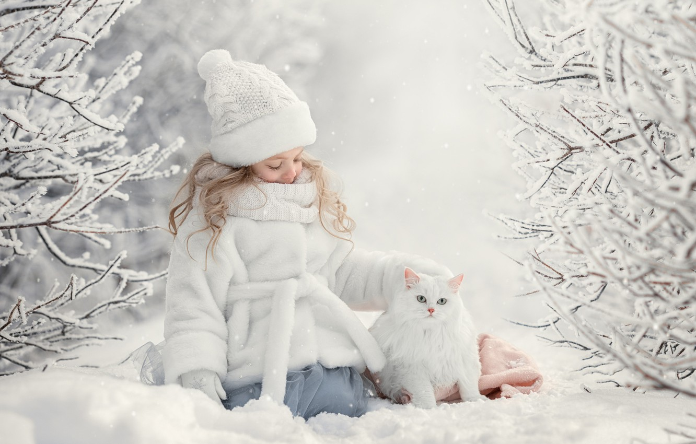 Photo wallpaper winter, cat, snow, girl, friends