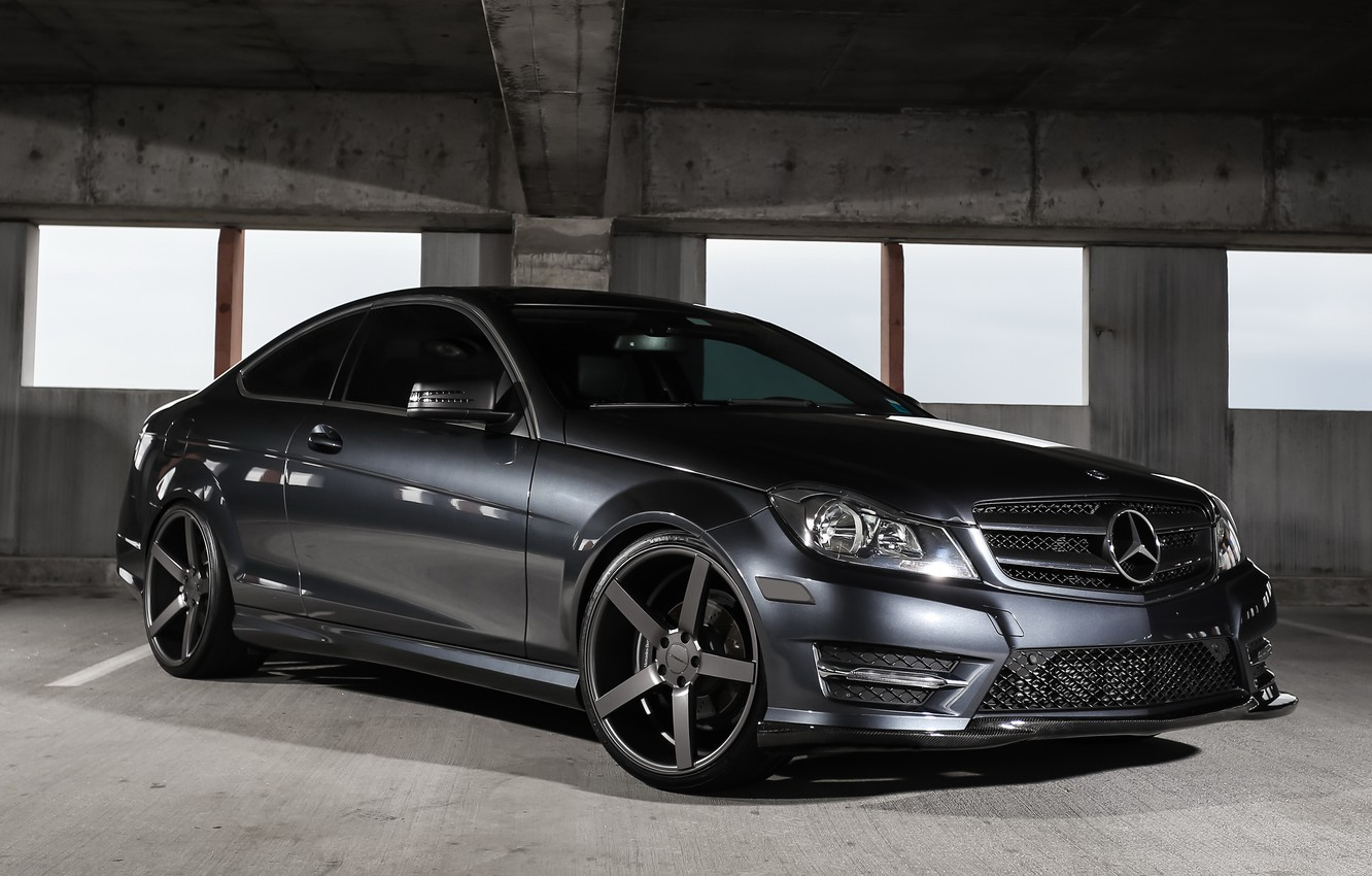 Photo wallpaper lights, Mercedes, fiber, with, carbon, C250, smoked