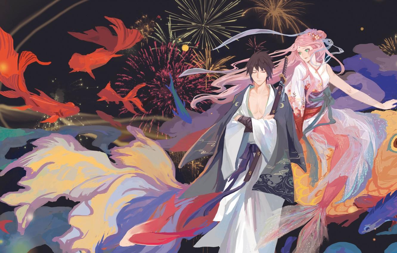 Photo wallpaper Naruto, katana, mermaid, Uchiha Sasuke, Haruno Sakura, kimono, by translucent body, japaese
