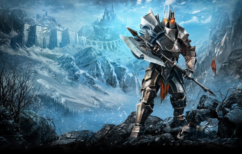 Photo wallpaper Mountains, Dragon, Snow, Castle, Armor, Flag, Warrior, Spear, Axe, Aqueduct, Plarium, Stormfall Age of War