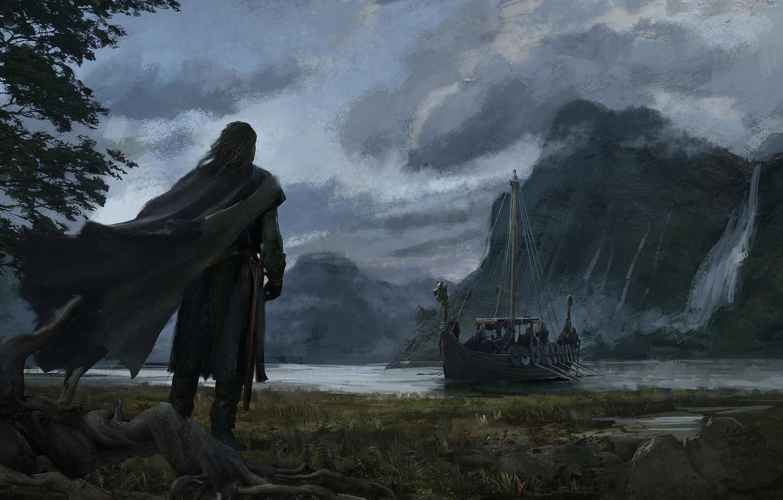 Photo wallpaper mountains, lake, river, rocks, shore, boat, waterfall, warrior, art, cloak, the ship, rook, Аndrey Bakulin
