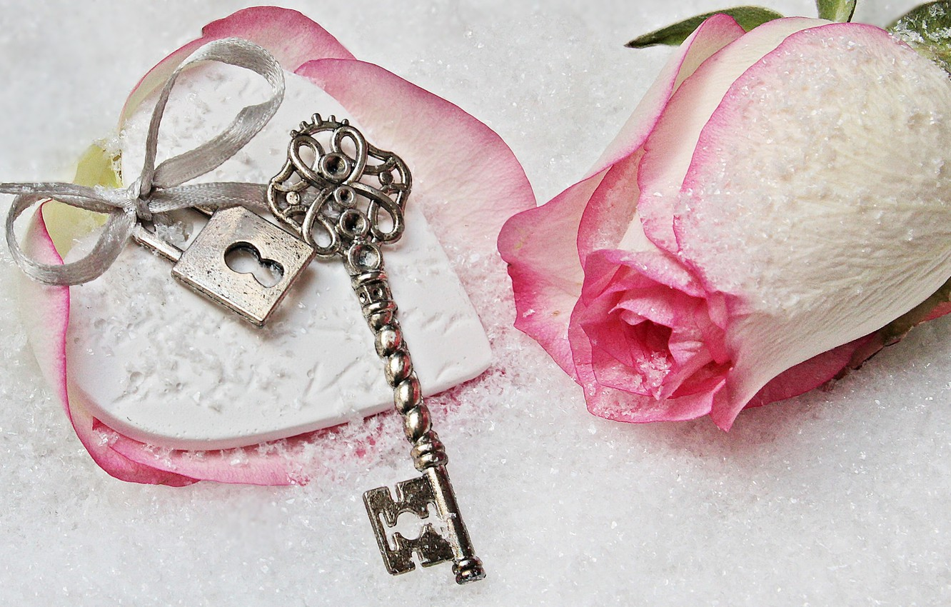 Photo wallpaper love, rose, heart, winter, snow, key, romantic, lock