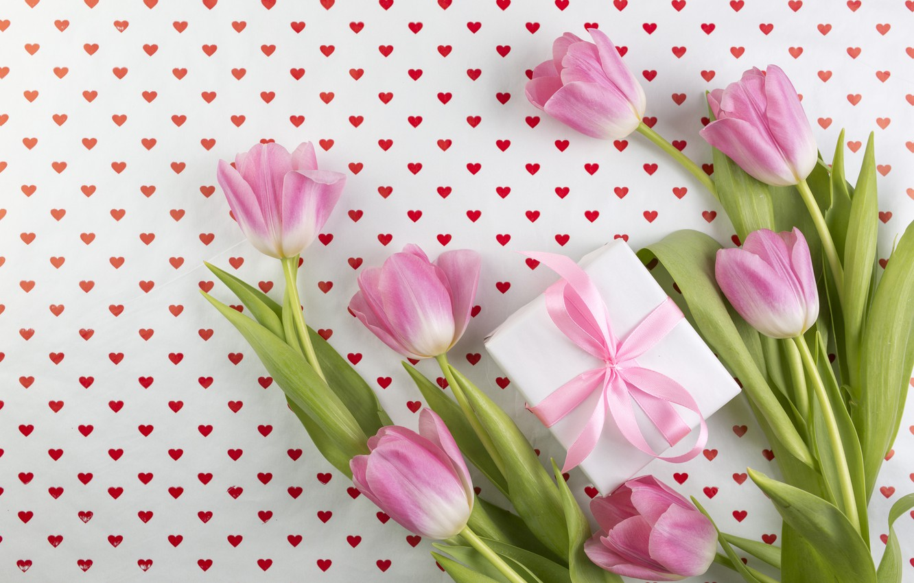 Photo wallpaper flowers, background, gift, bouquet, hearts, tulips, pink