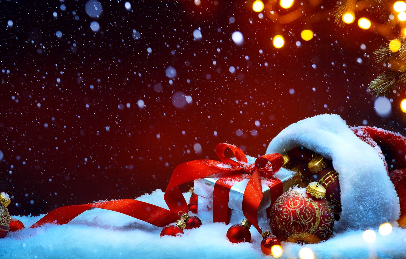 Photo wallpaper snow, decoration, holiday, gift, hat, ball, spruce