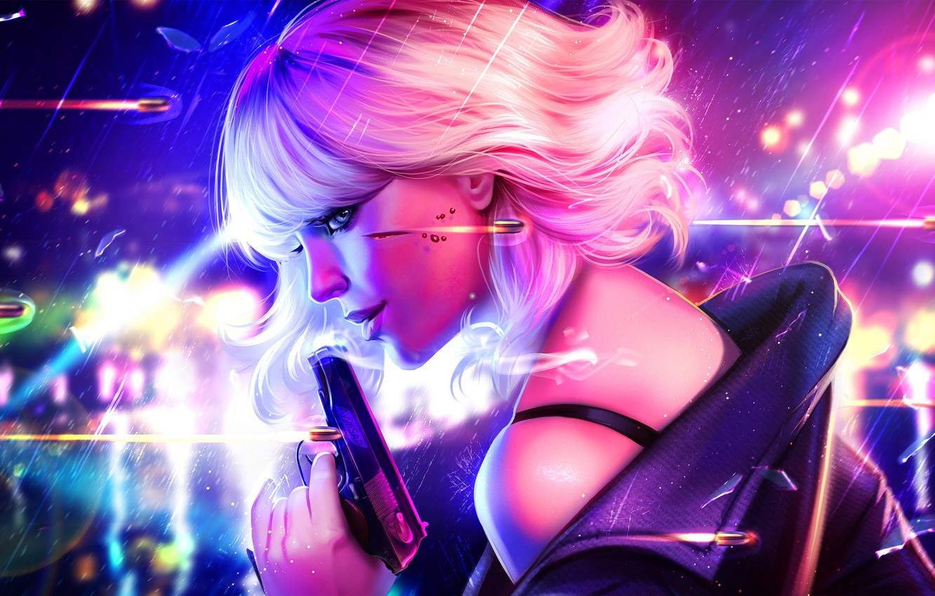 Photo wallpaper girl, face, smile, gun, Charlize Theron, art, blonde, beauty, bullets, killer, Lorraine Broughton, Atomic Blonde