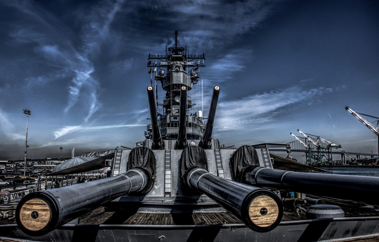 Photo wallpaper battleship, guns, USS Iowa, BB-61