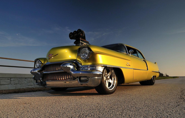 Photo wallpaper Coupe, Yellow, 1956, Drag race, Cadilac Deville
