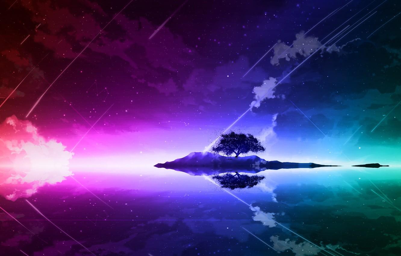 Photo wallpaper landscape, night, lake, reflection, tree