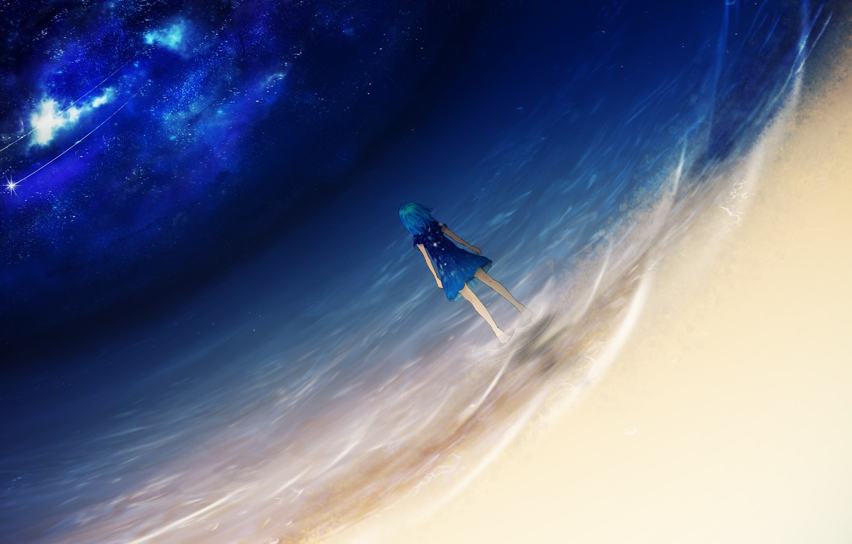 Photo wallpaper sea, girl, night, shooting stars, Y_Y
